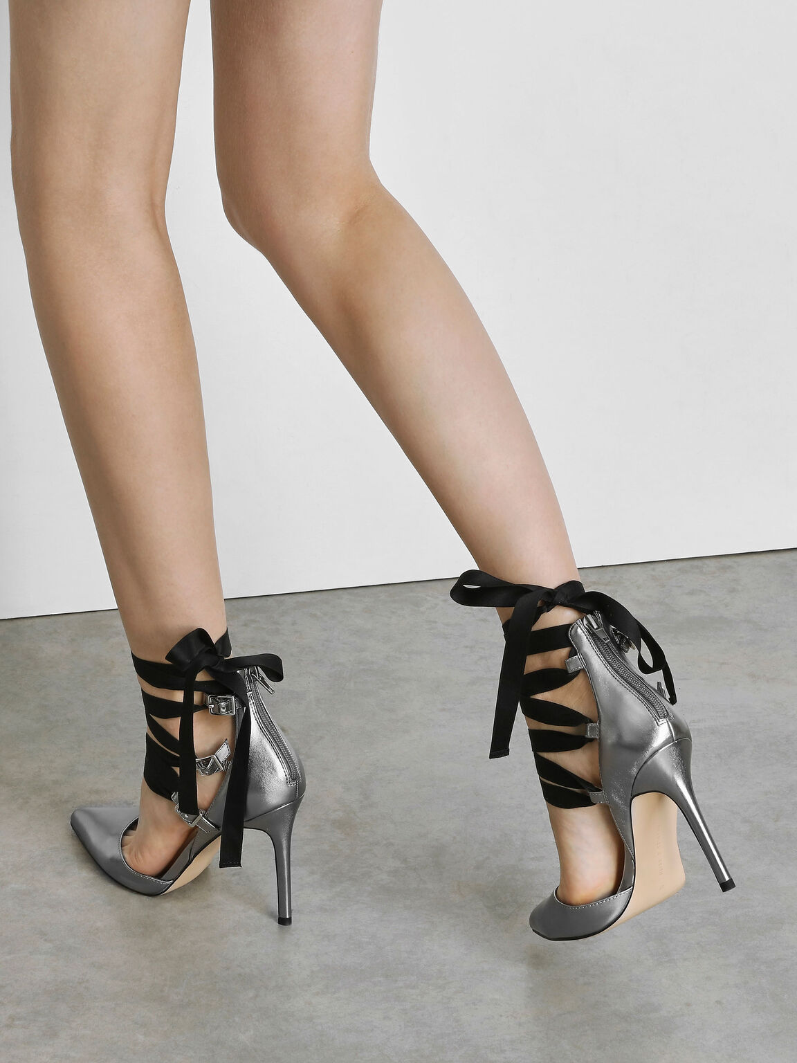Lace Up Pointed Pumps, Silver, hi-res