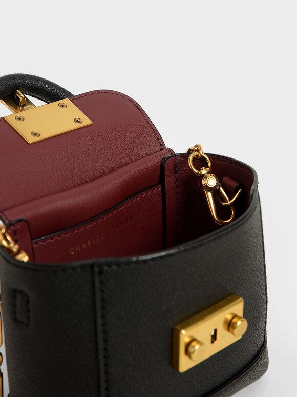 Stone-Embellished Pouch Bag, Black, hi-res