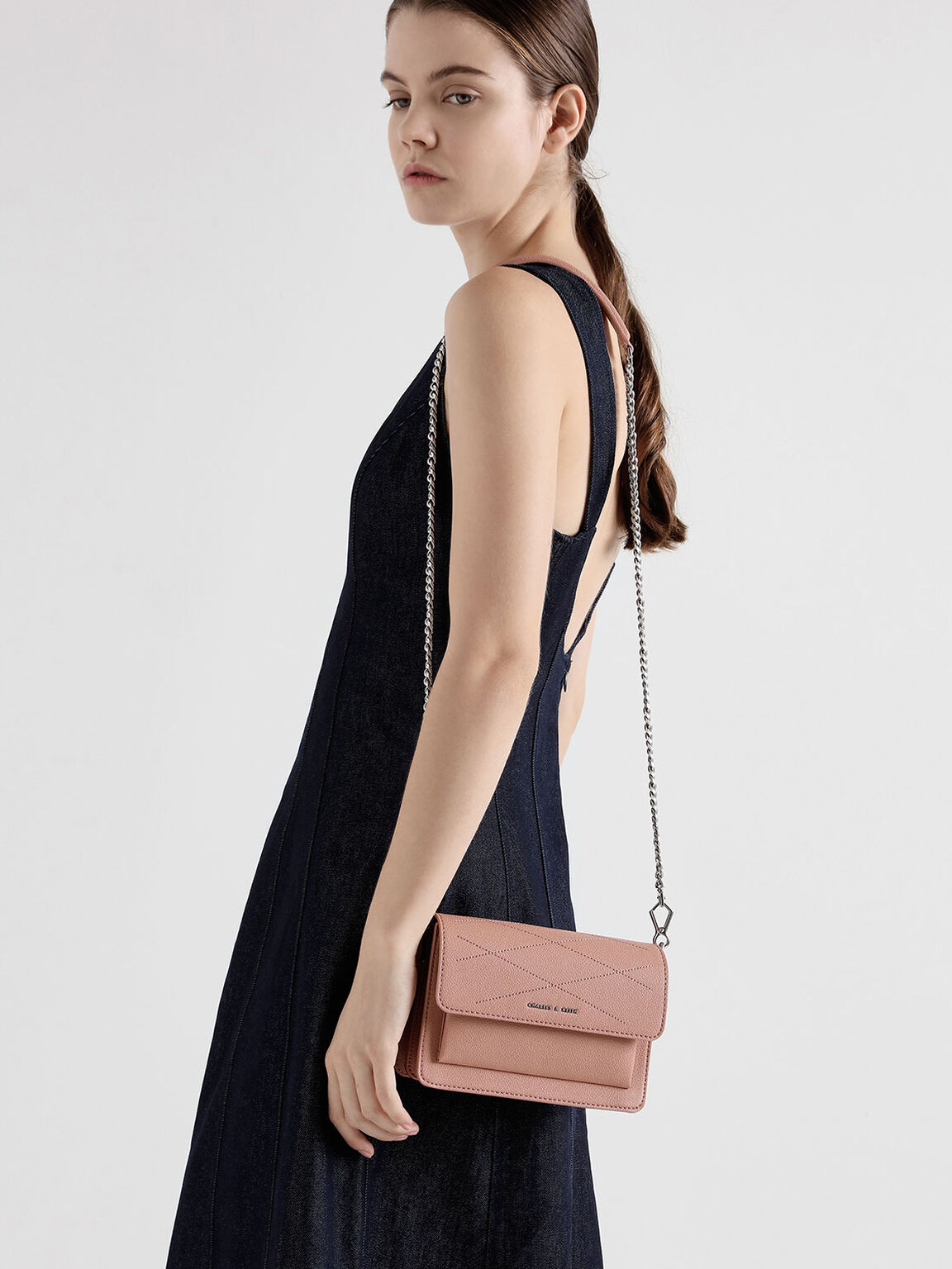 Top Stitch Detail Crossbody Bag, Pink, hi-res