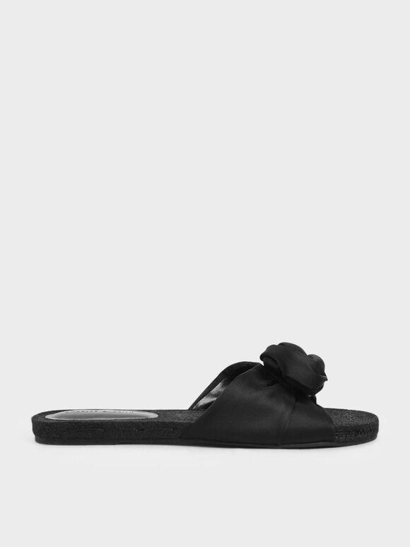 Satin Knot Espadrille Slide Sandals, Black, hi-res