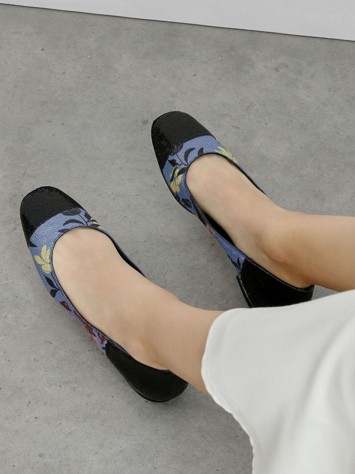 Sequin Mesh Ballerina Flats, Multi, hi-res
