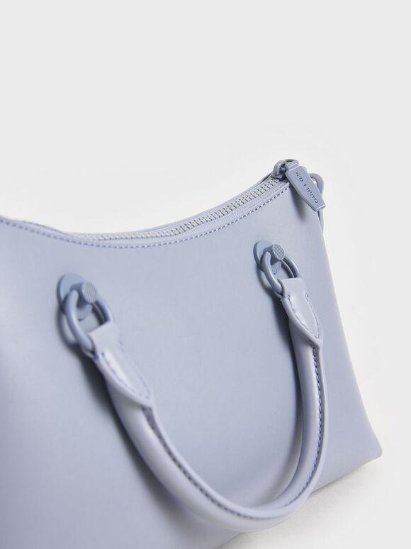 Double Handle Shoulder Bag, Light Blue, hi-res
