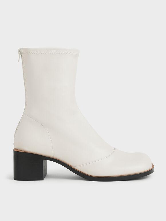 Stitch Trim Ankle Boots, Chalk, hi-res