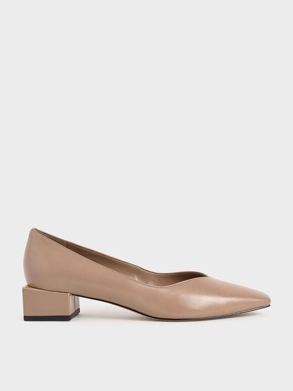 Block Heel Court Shoes, Nude, hi-res