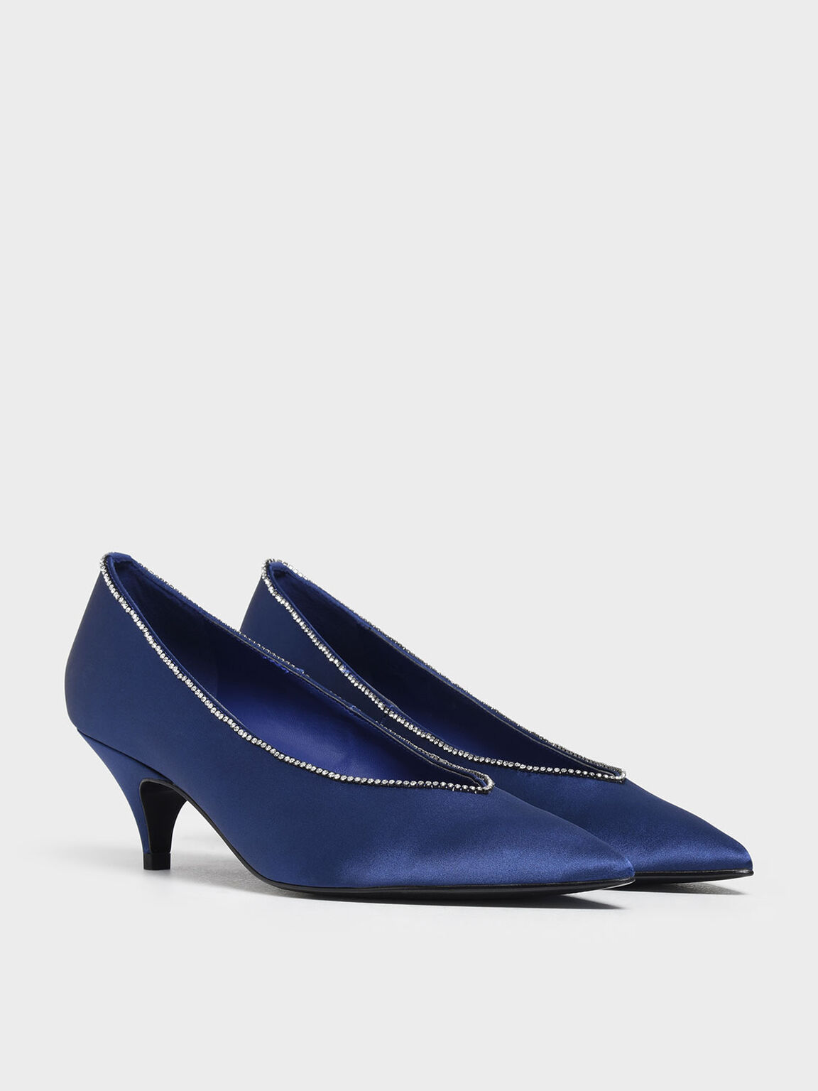 Gem Embellished Satin Kitten Heel Pumps, Blue, hi-res