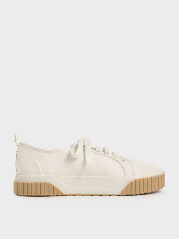 Recycled Cotton Low-Top Sneakers, Cream, hi-res