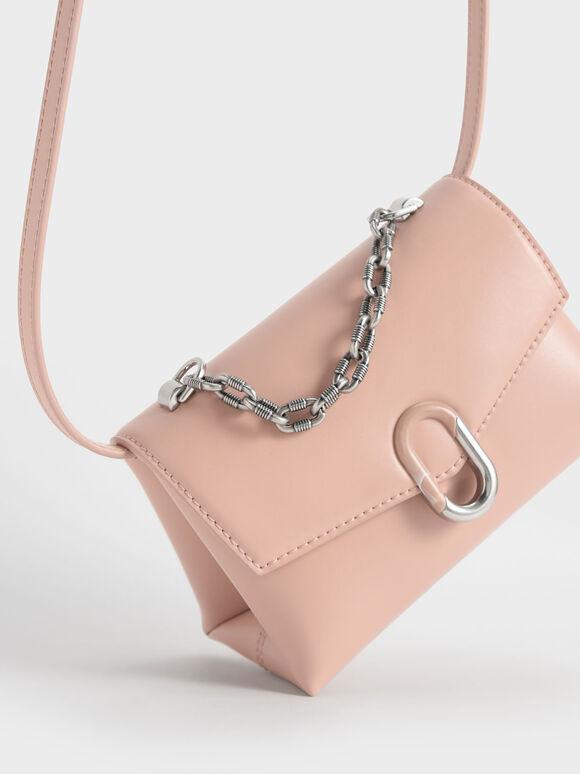 Chain Strap Envelope Crossbody Bag, Blush, hi-res