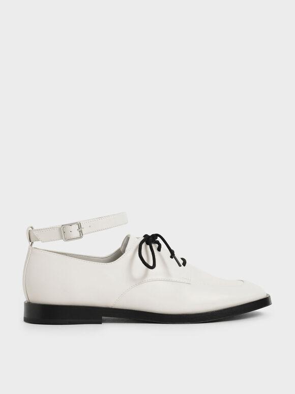 Ankle Strap Derby Shoes, Chalk, hi-res