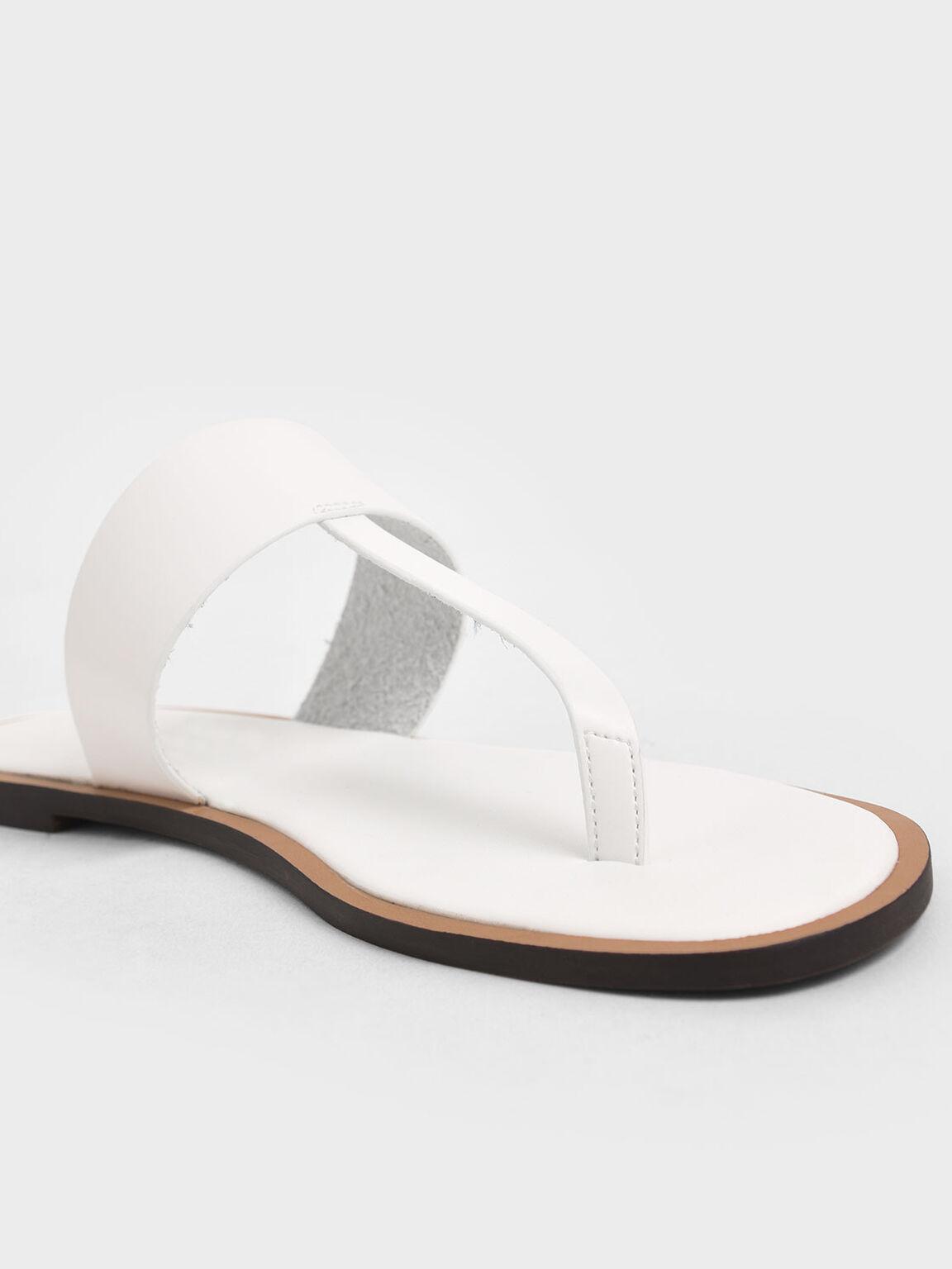 T-Bar Slide Sandals, White, hi-res