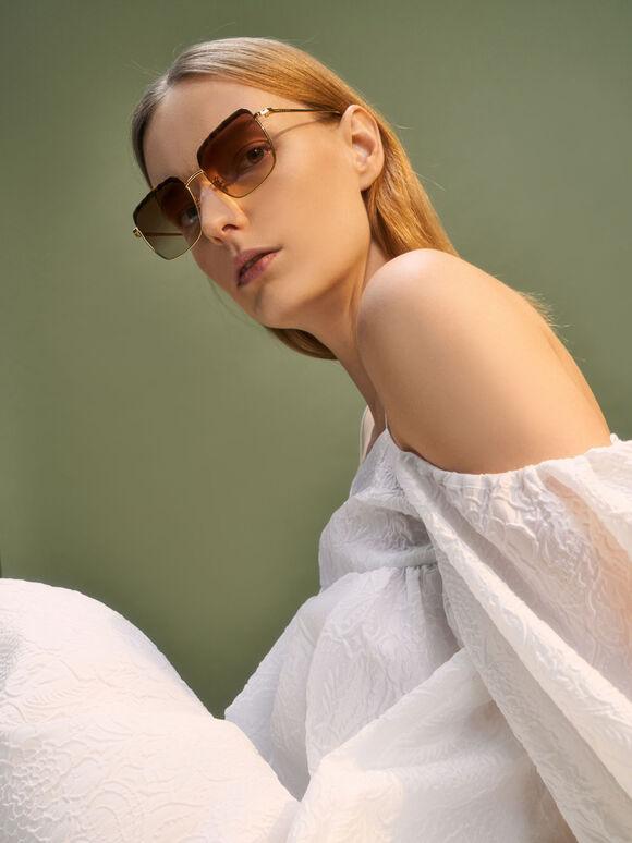 Thin Metal Frame Square Tortoiseshell Sunglasses, T. Shell, hi-res