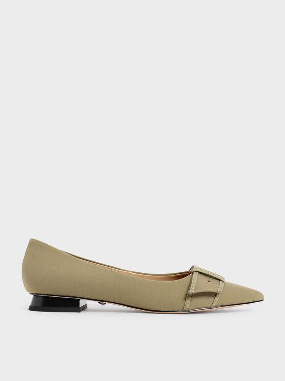 Twill Eyelet-Embellished Ballerina Flats, Taupe, hi-res