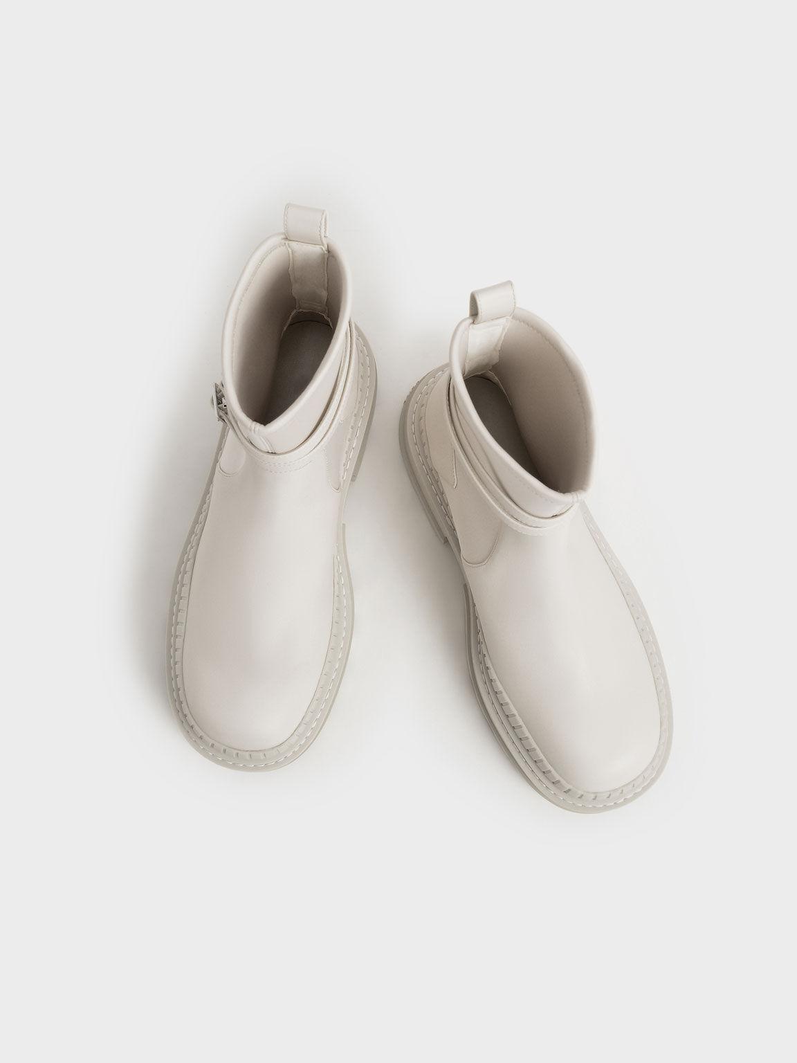 Slip-On Platform Ankle Boots, Chalk, hi-res