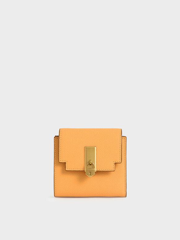 Metallic Push-Lock Short Wallet, Mustard, hi-res
