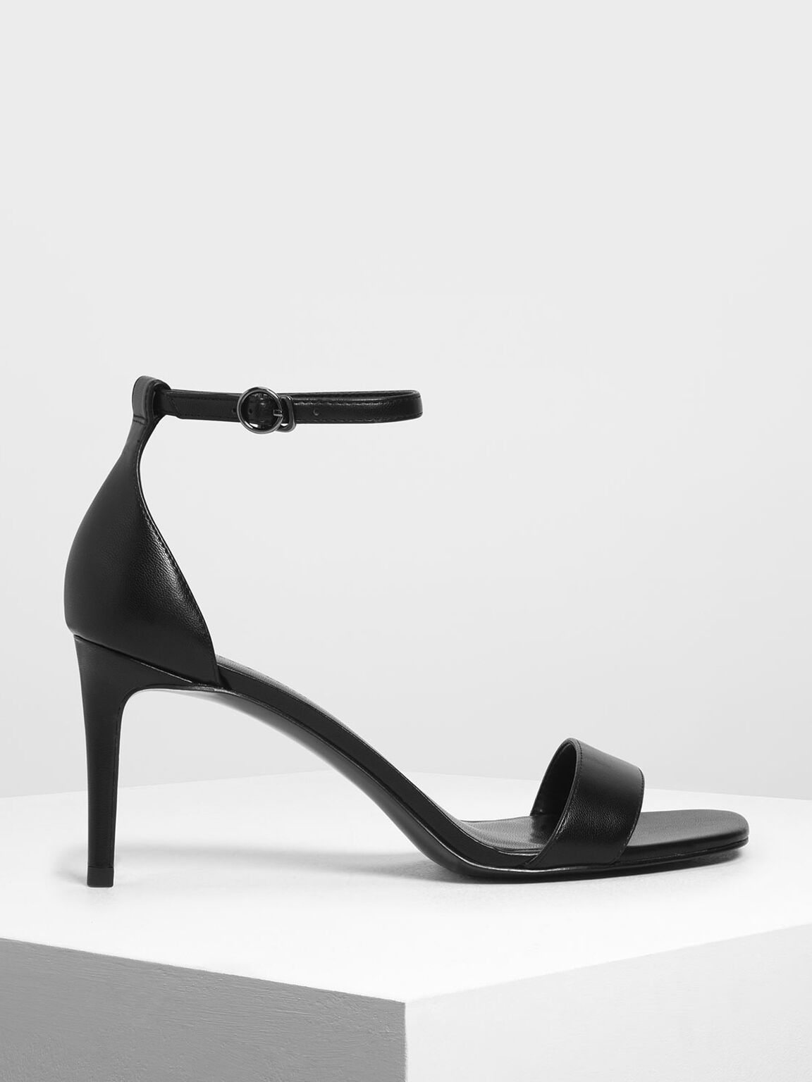 Classic Ankle Strap Heels, Black, hi-res