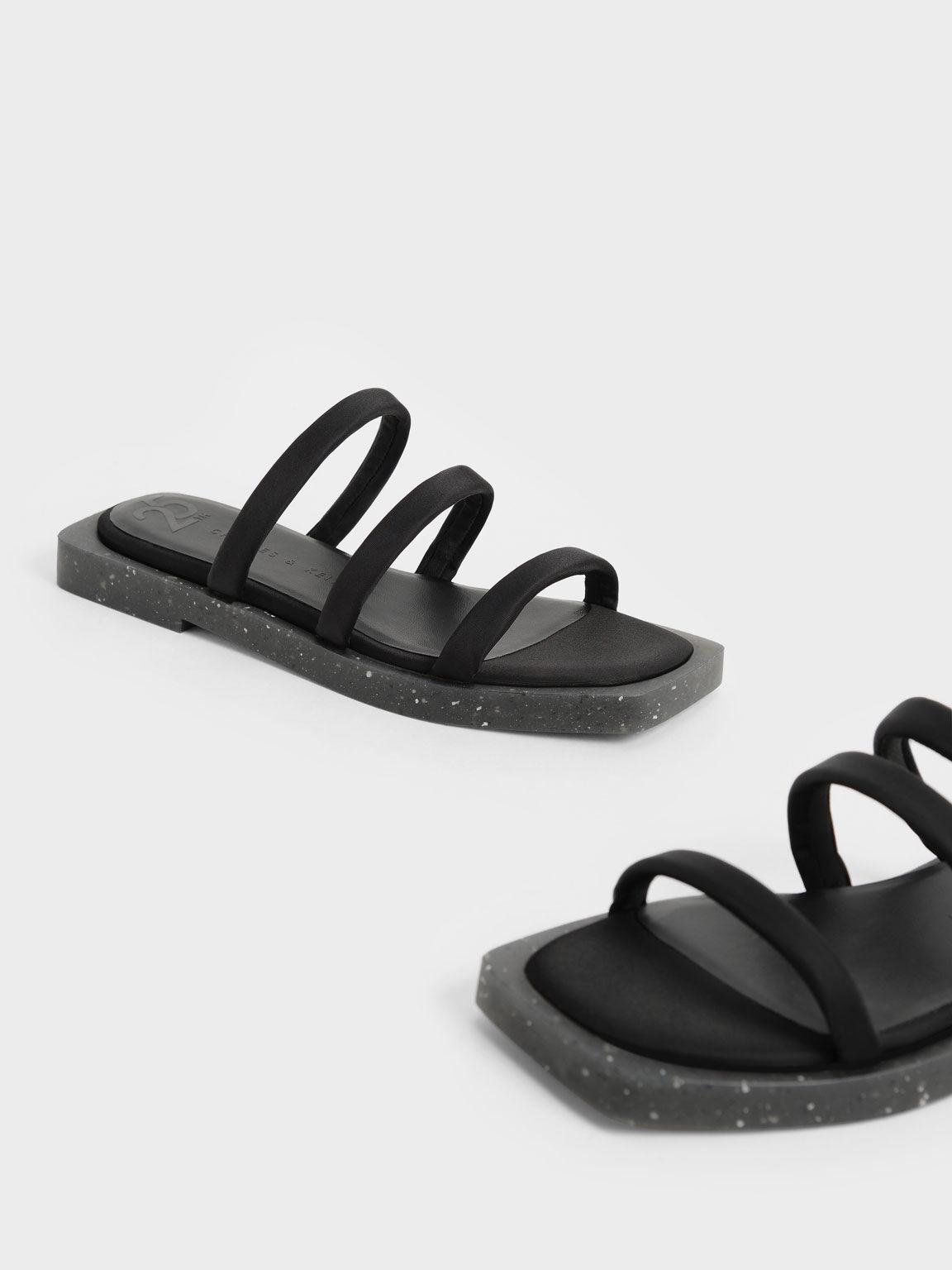 The Anniversary Series: Arabella Recycled Nylon Slide Sandals, Black, hi-res