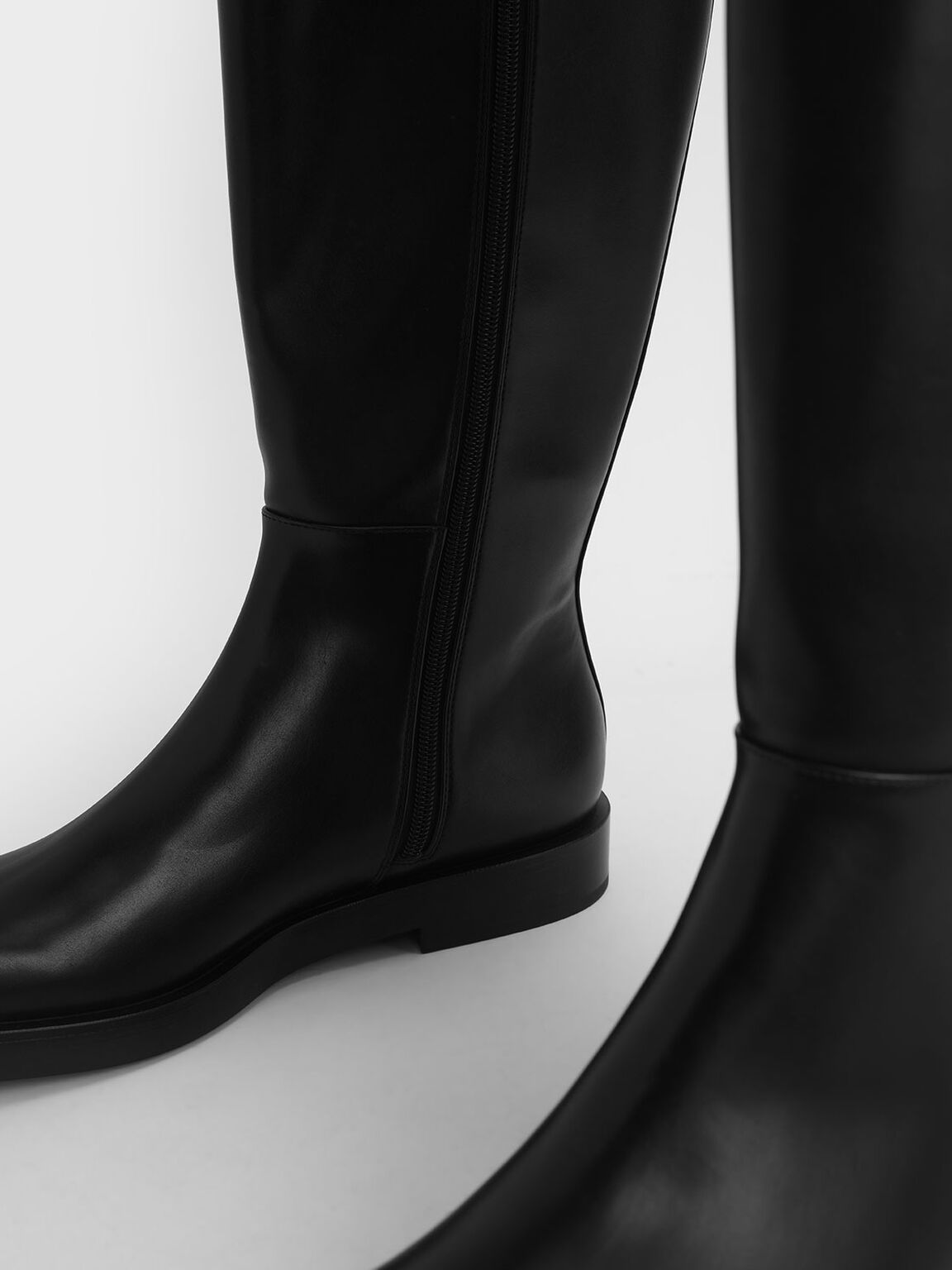 Side Zip Knee High Boots, Black, hi-res