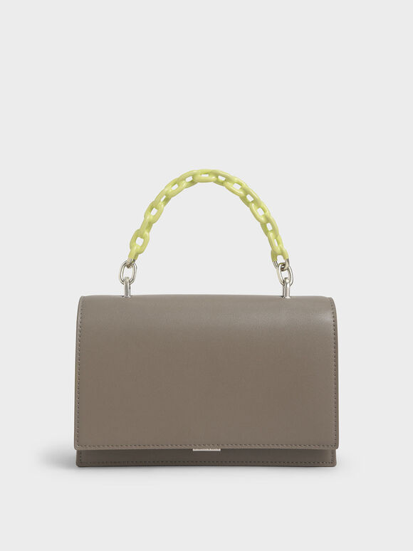 Two-Tone Chain Top Handle Bag, Grey, hi-res