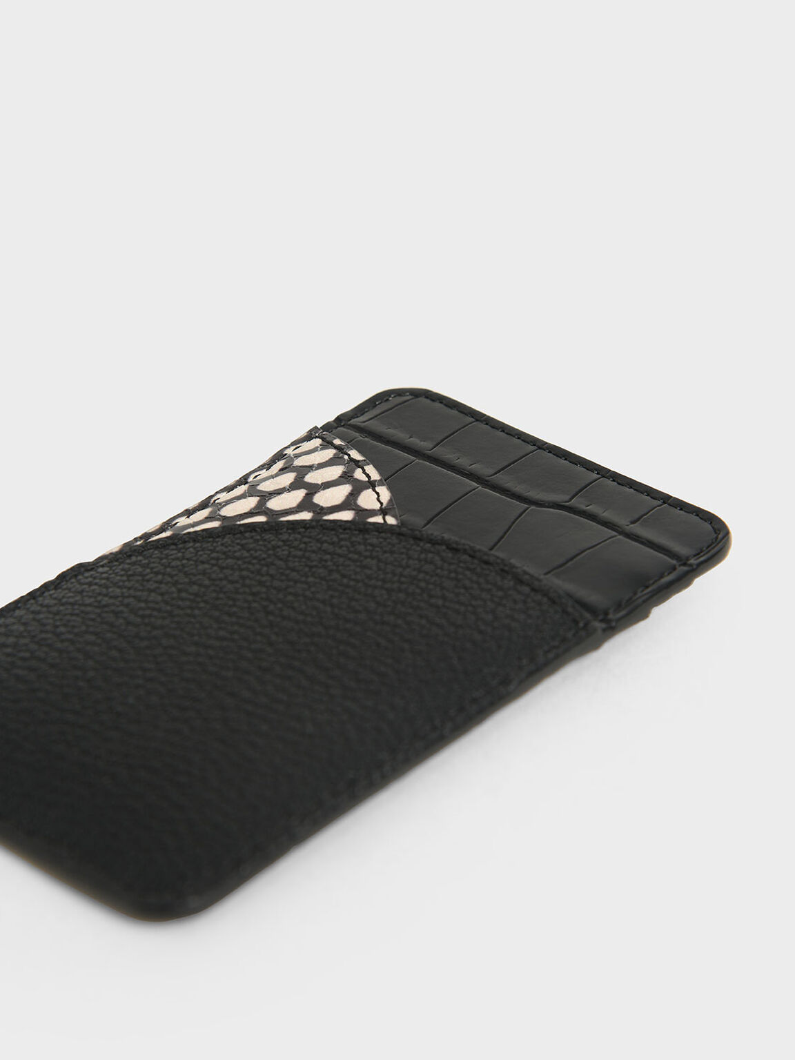 Animal Print Elongated Card Holder, Black, hi-res