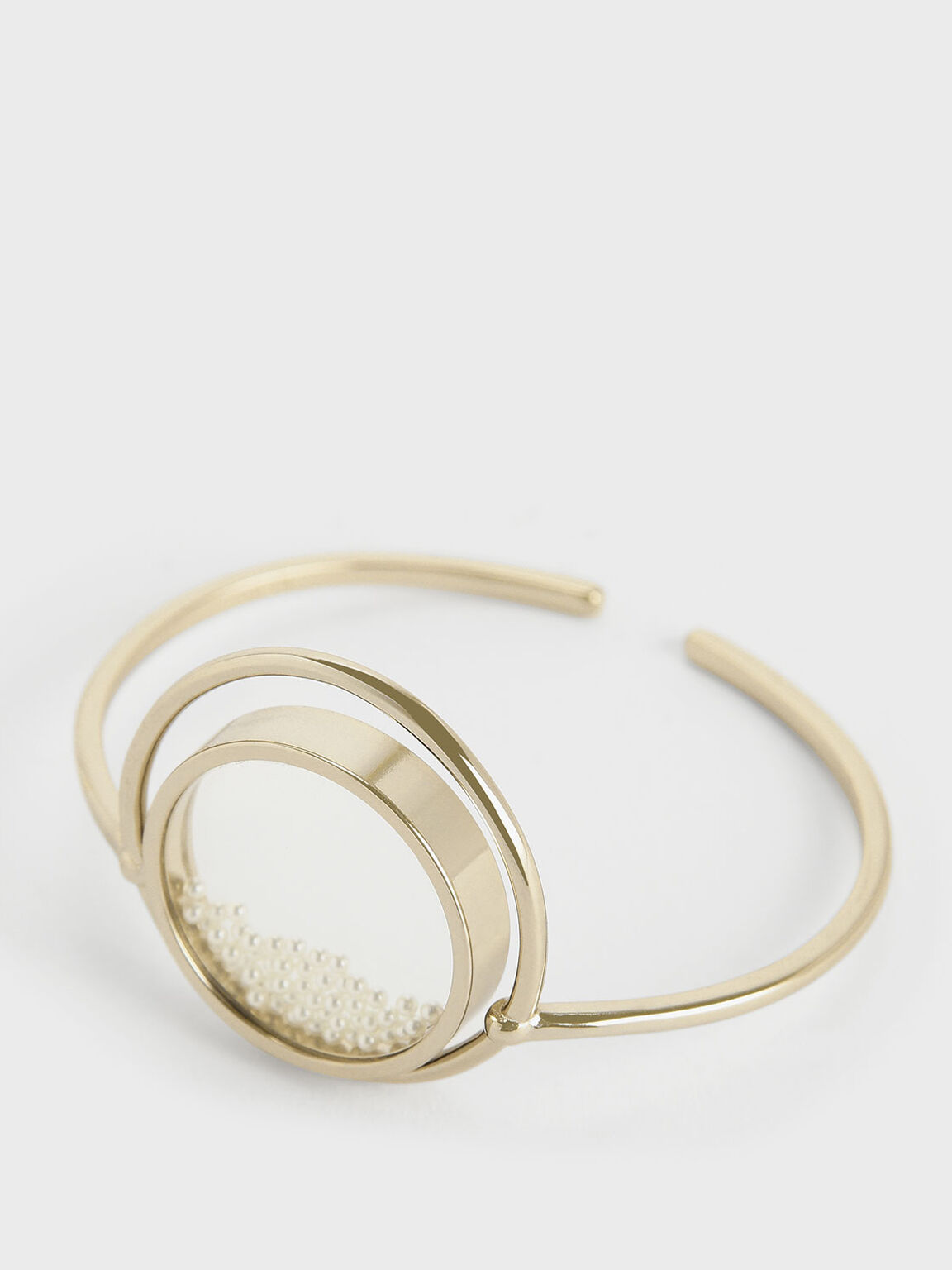 Pearl Finish Stone Floating Locket Cuff Bracelet, Pearl, hi-res