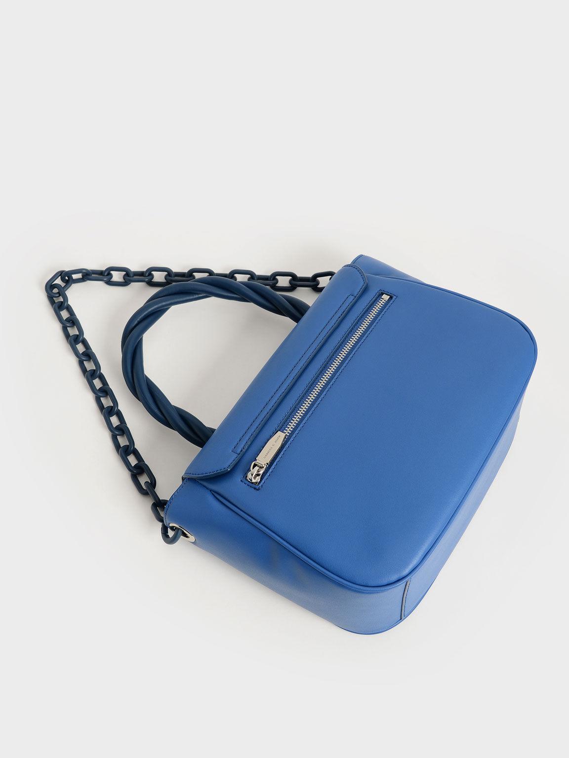 Twist Top Handle Bag, Blue, hi-res