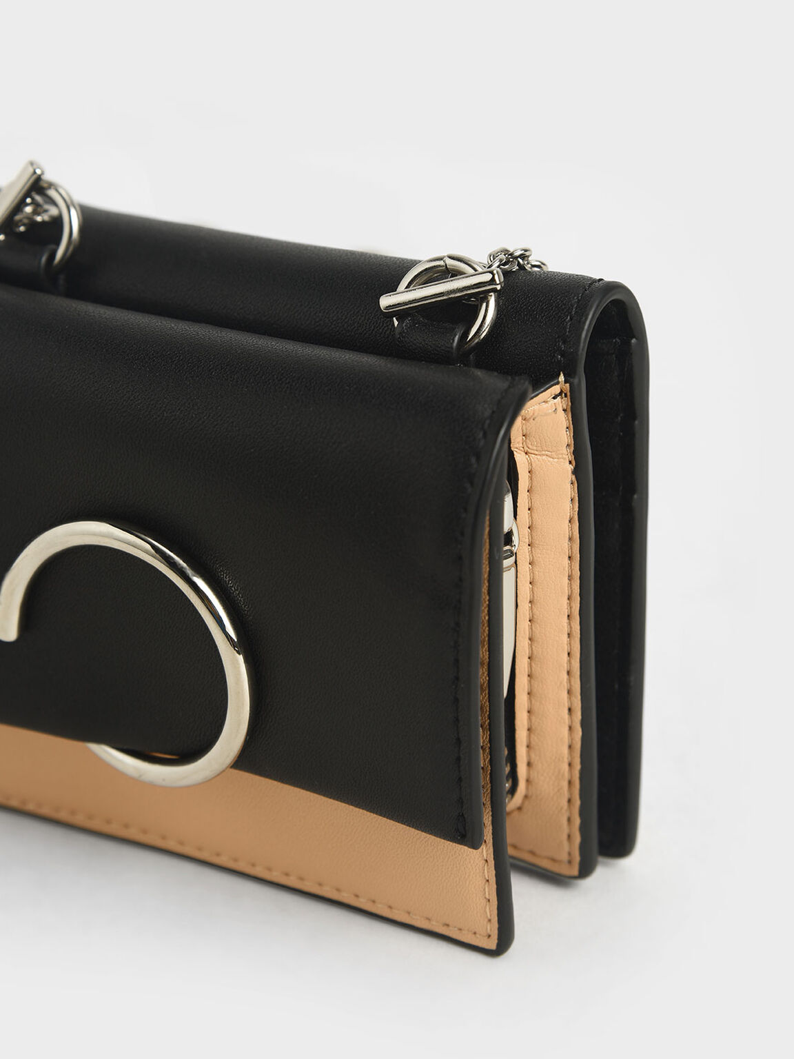 Two-Tone Ring Detail Short Wallet, Nude, hi-res