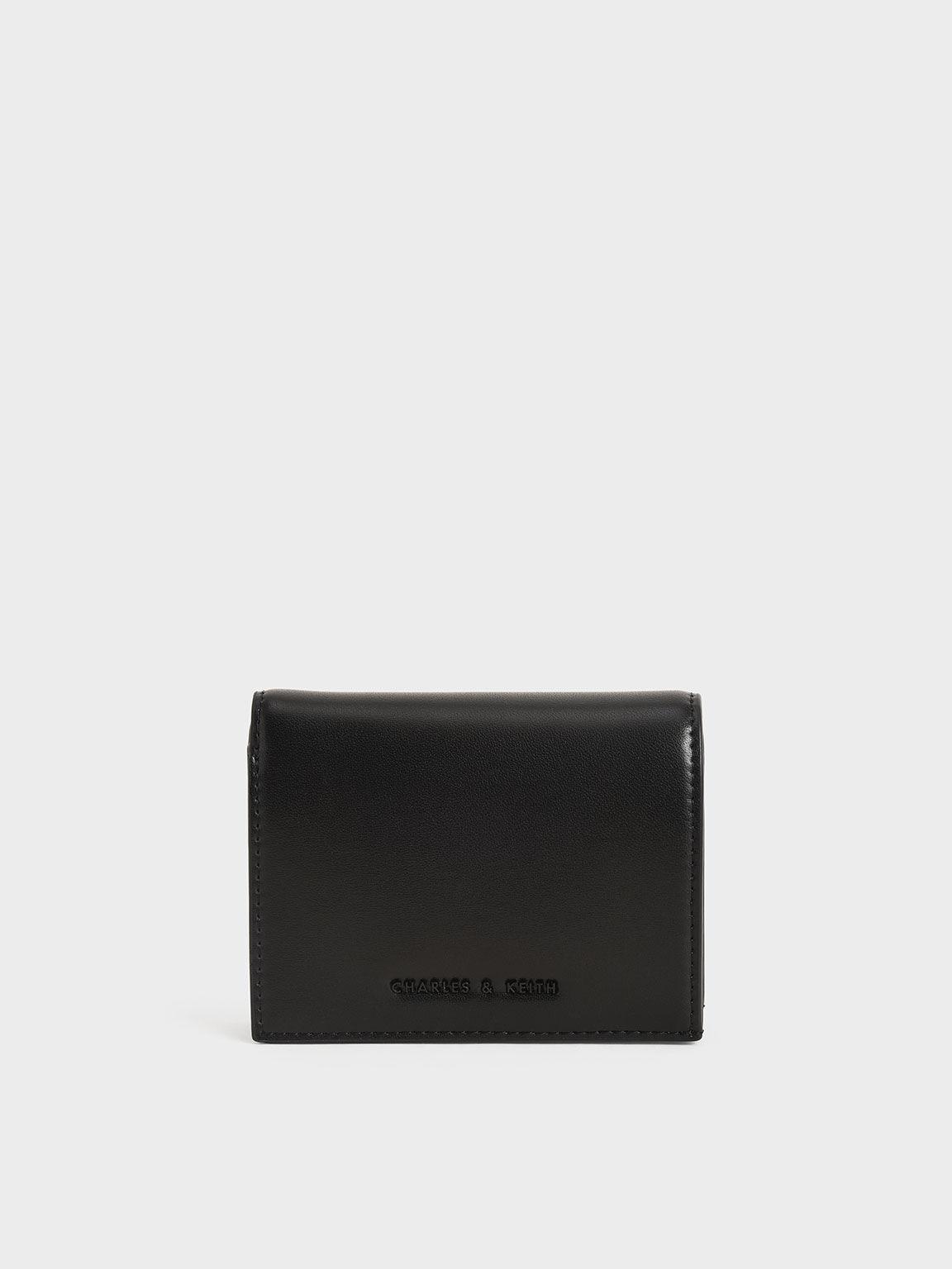 Snap Button Mini Short Wallet, Black, hi-res