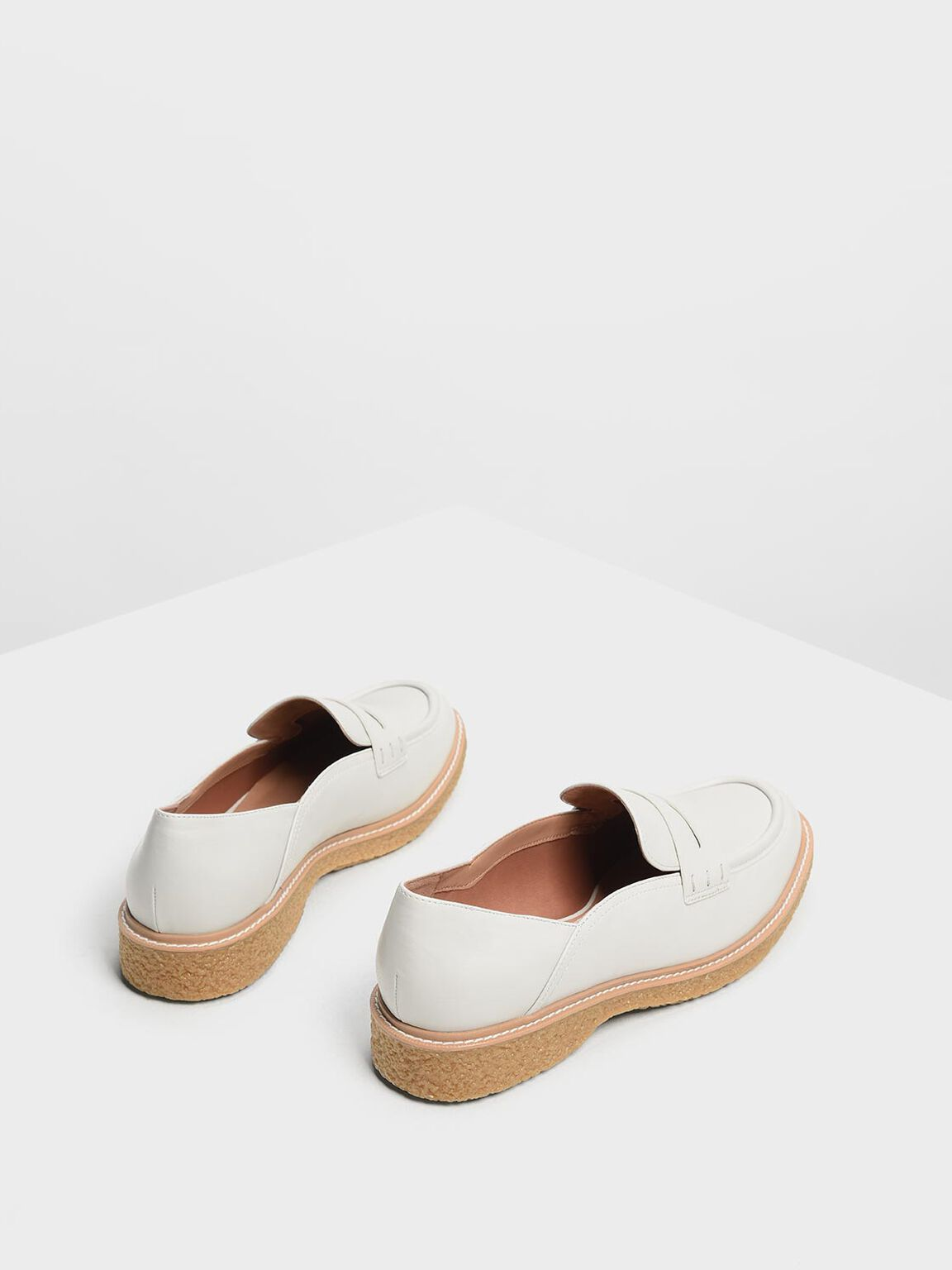 Curved Edge Penny Loafers, Chalk, hi-res