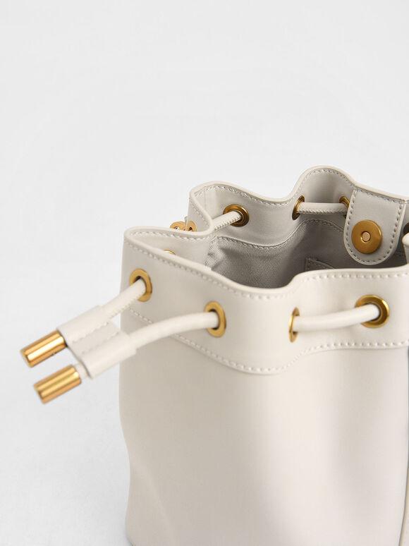 Drawstring Bucket Bag, Ivory, hi-res