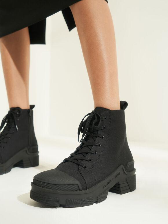 Canvas High Top Sneakers, Black, hi-res