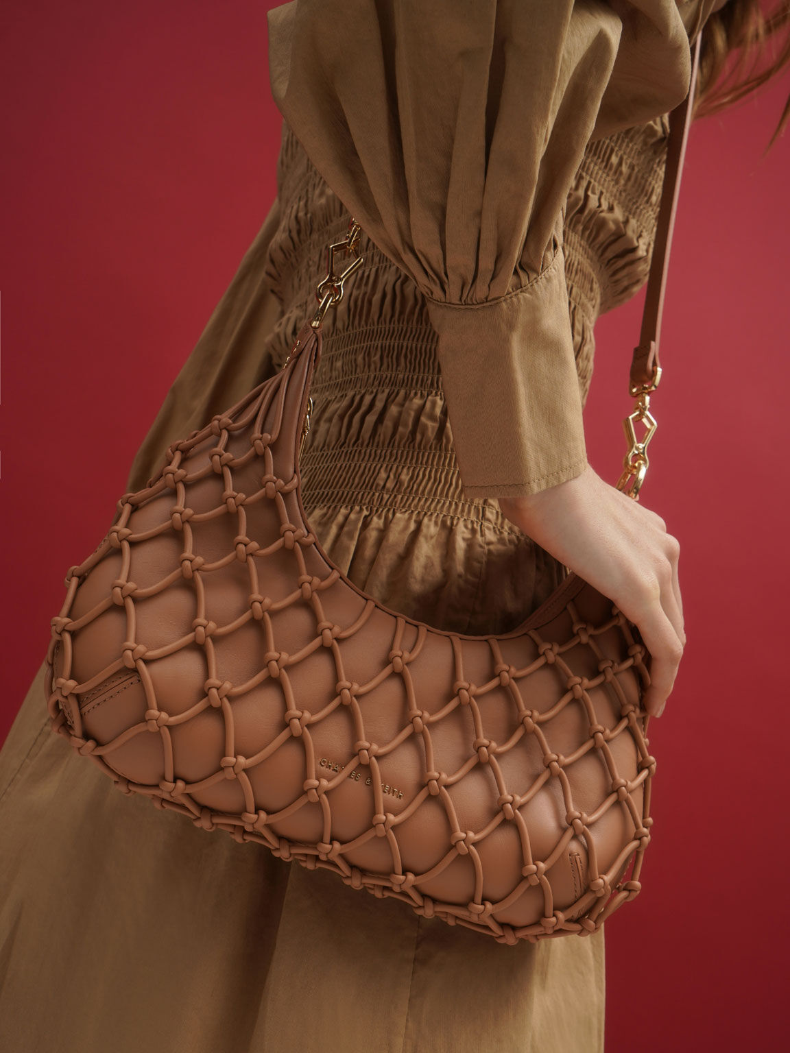 Netted Leather Shoulder Bag, Tan, hi-res