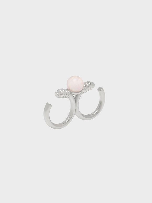 Rose Quartz Double Ring, Silver, hi-res