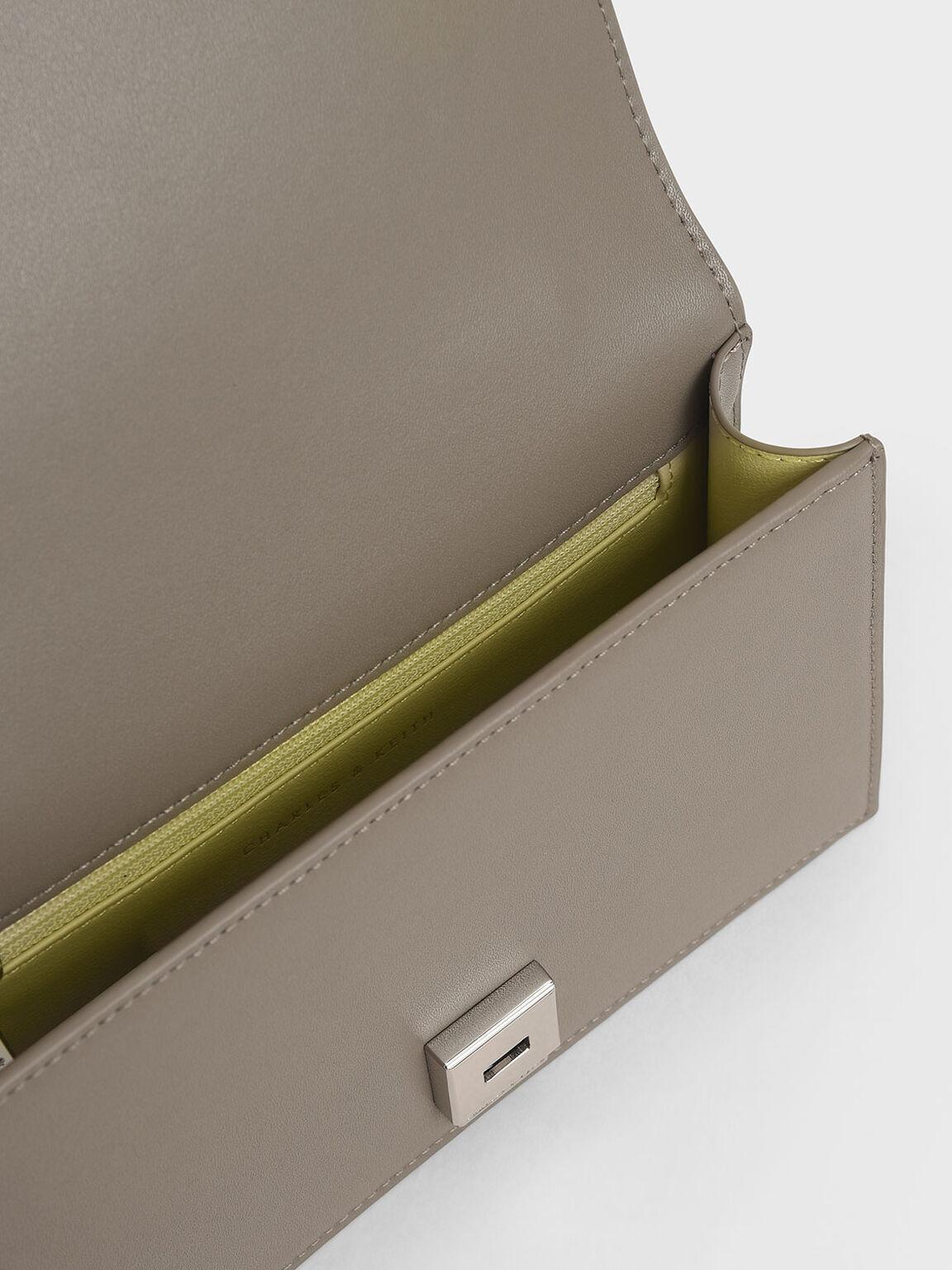 Two-Tone Chain Top Handle Bag, Grey, hi-res
