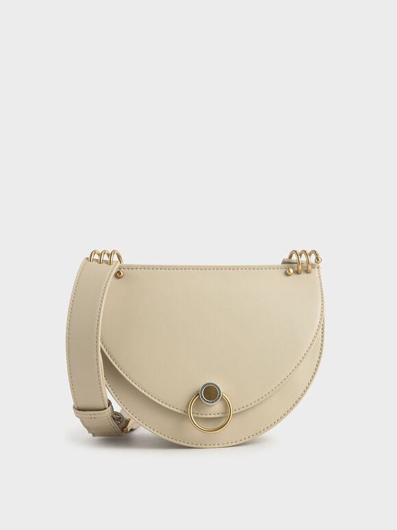 Ring Push-Lock Saddle Bag, Ivory, hi-res