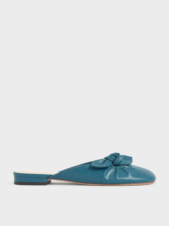 Knotted Mules, Teal, hi-res