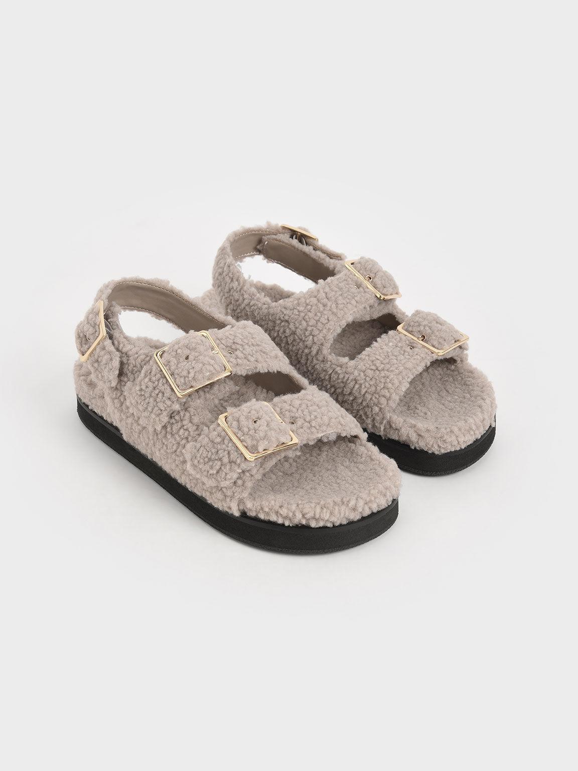 Recycled PET - Furry Platform Sandals, Taupe, hi-res