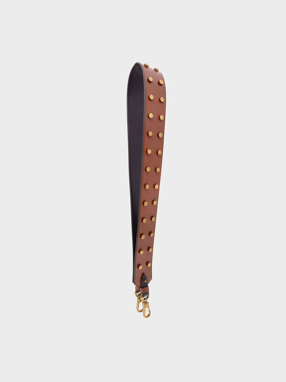 Stud Detail Bag Strap, Cognac, hi-res