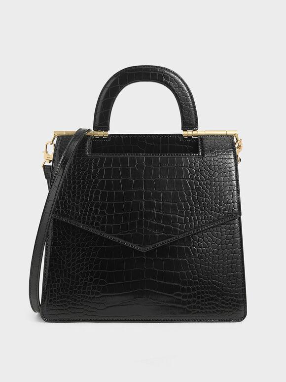Croc-Effect Envelope Bag, Black, hi-res