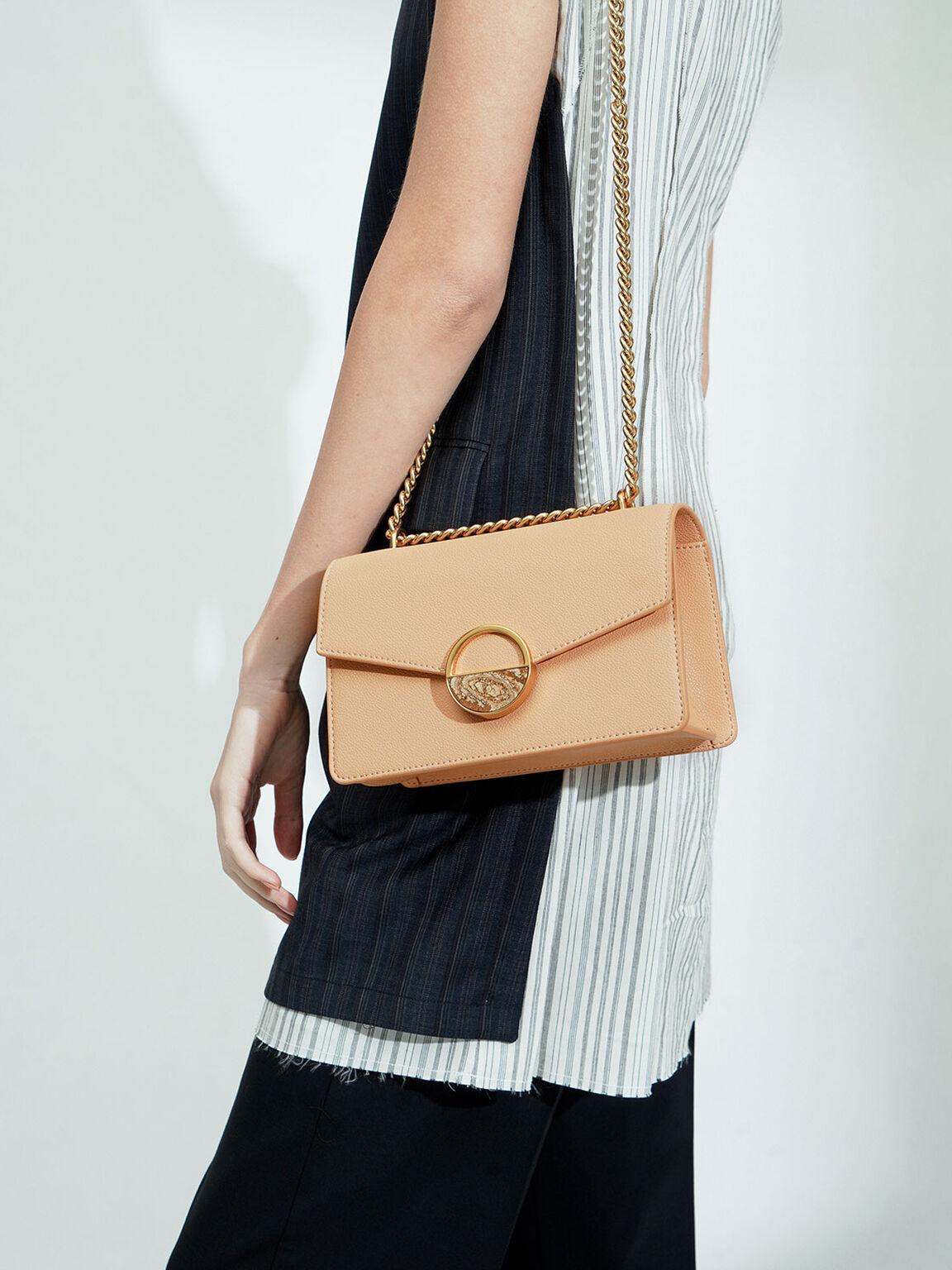 Stone Embellished-Buckle Shoulder Bag, Nude, hi-res