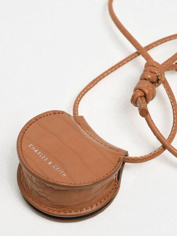 Croc-Effect Necklace Bag, Tan, hi-res