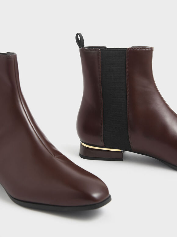 Metal Accent Heel Chelsea Boots, Brown, hi-res