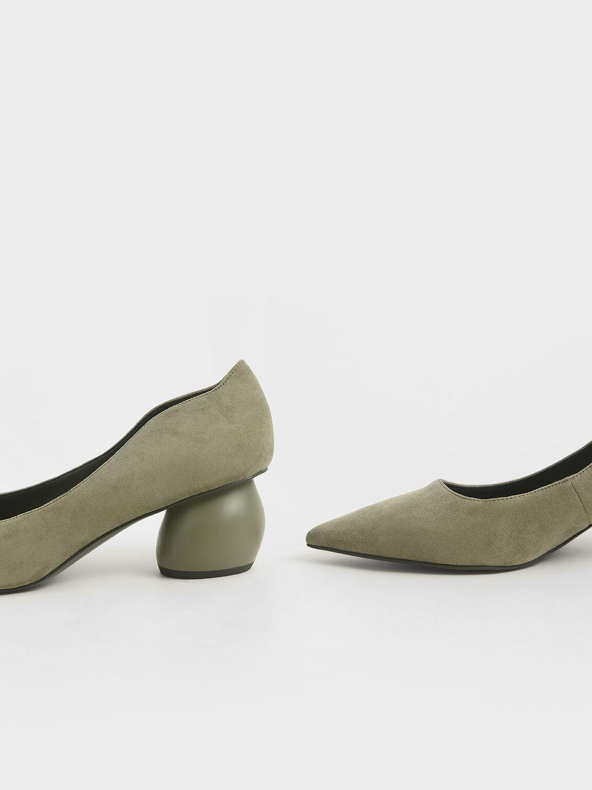 Textured Sculptural Heel Pumps, Olive, hi-res