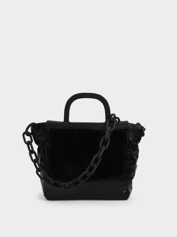 Patent Tote Bag, Black, hi-res