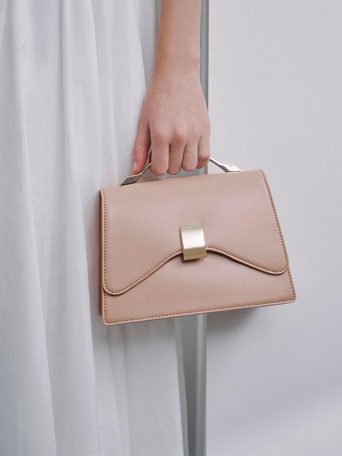 Metallic Top Handle Push-Lock Bag, Nude, hi-res