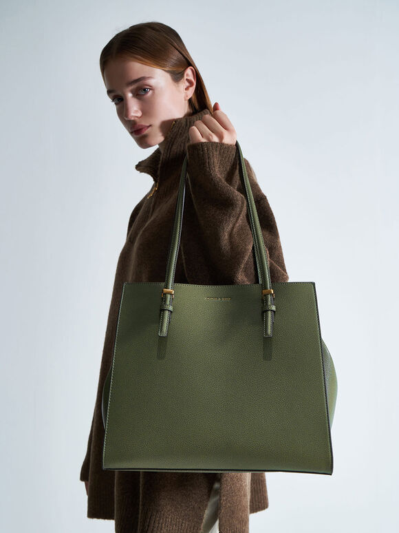 Large Double Handle Tote Bag, Olive, hi-res