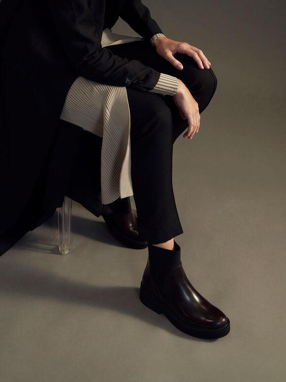 Ankle Sock Boots, Burgundy, hi-res