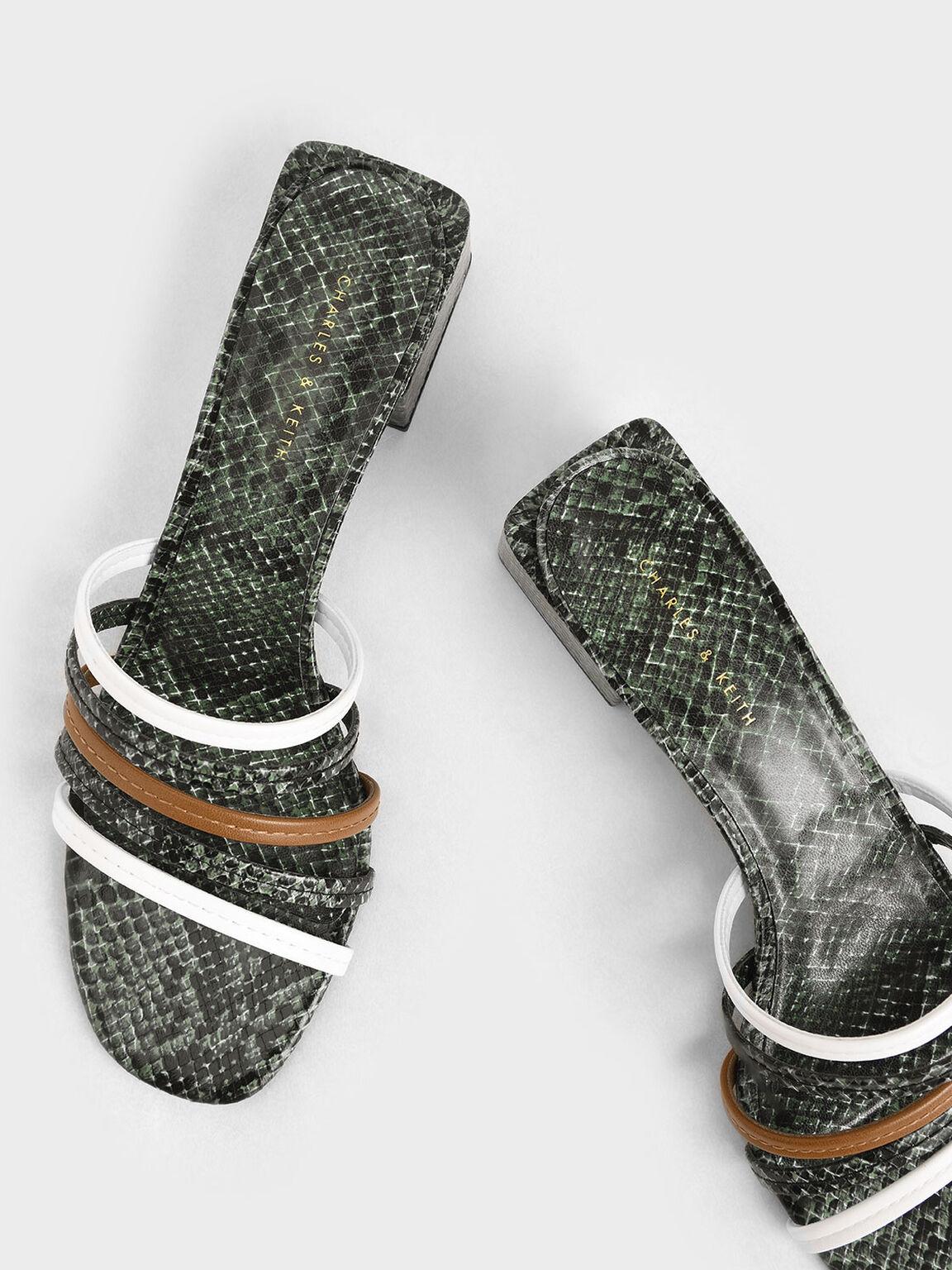Snake Print Strappy Mules, Multi, hi-res