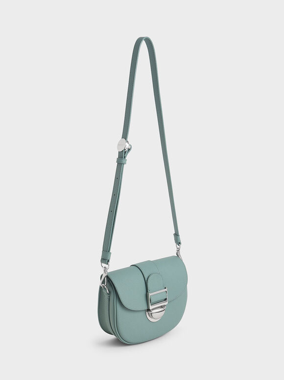 Amelia Metallic Push-Lock Crossbody Bag, Peacock, hi-res