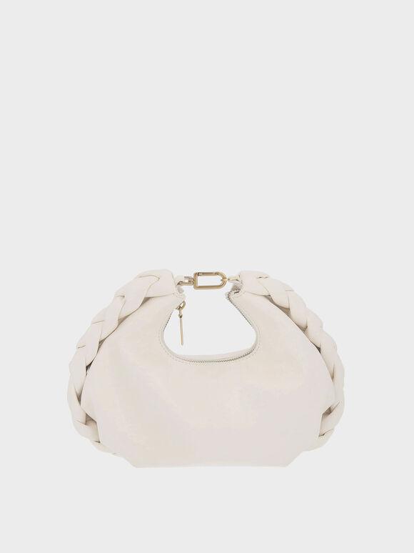 Chain Handle Braided Hobo Bag, Cream, hi-res
