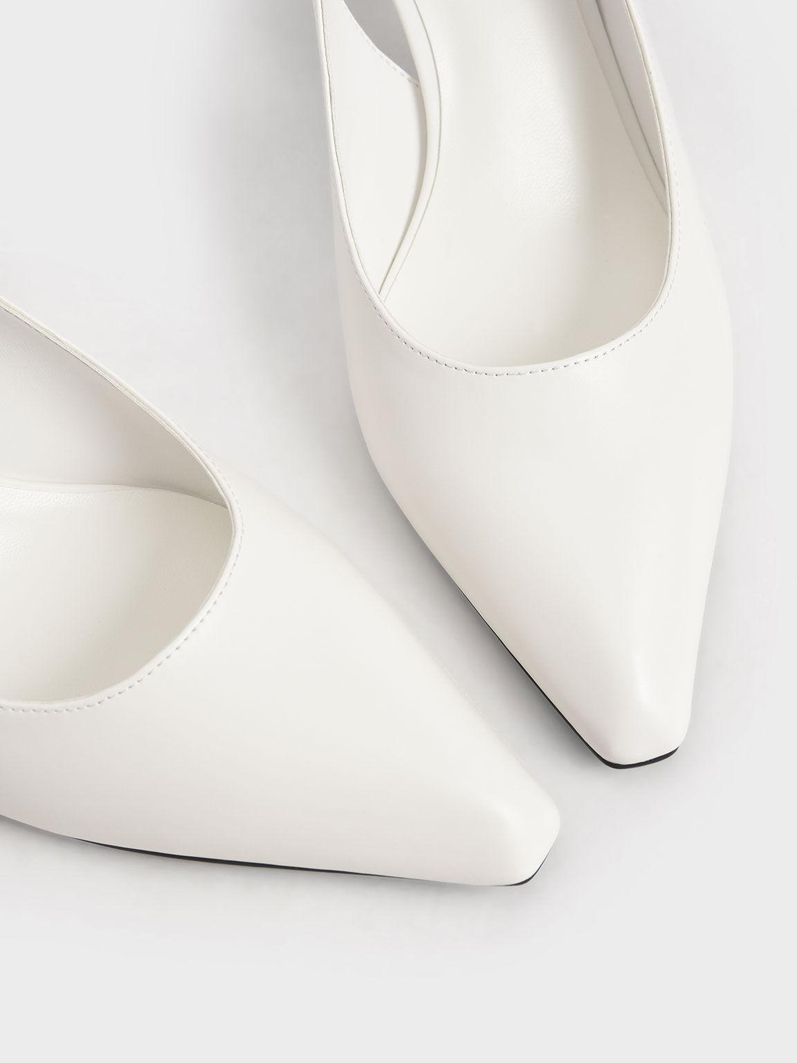 Half Moon Slingback Court Shoes, White, hi-res