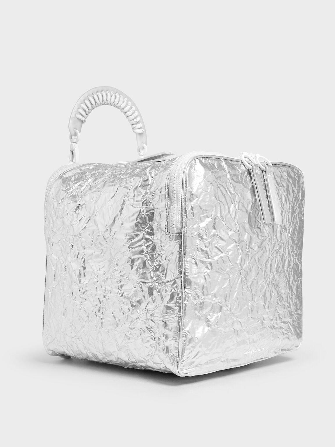 Rope Handle Wrinkled Effect Metallic Backpack, Silver, hi-res